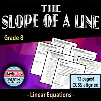 Slope Of A Line Worksheet Packet My Tpt Store Pinterest Math