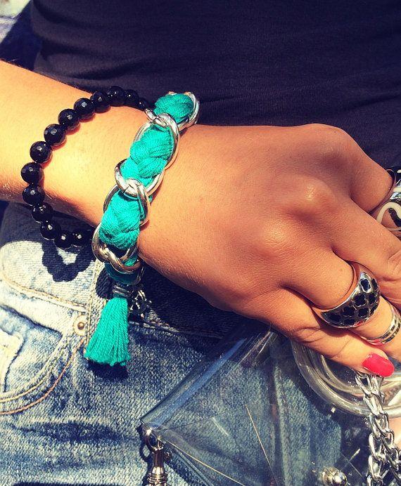 Chain Emerald color Bracelet от Monamibijoux на Etsy