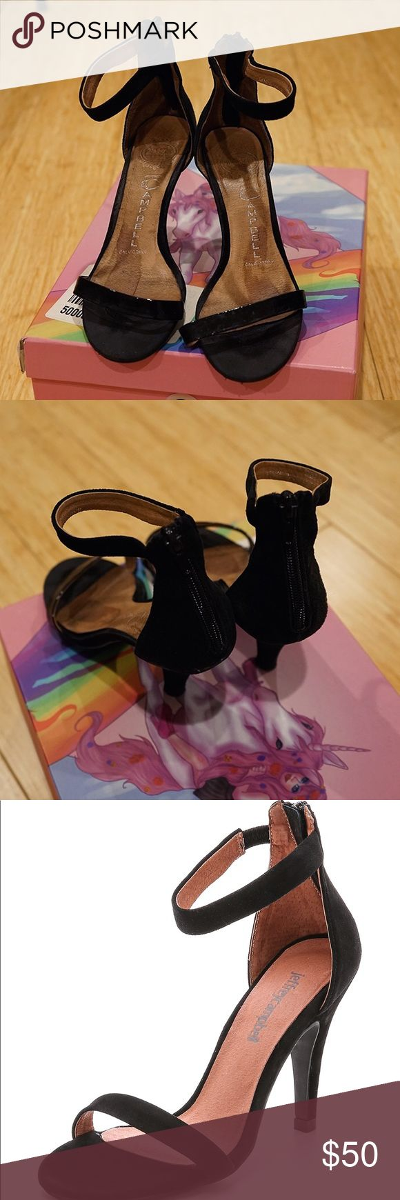 Jeffrey Campbell Black Strap Heel 6.5 Classic heels in black ⚫️ worn but still have great life in them. The back has a zipper and the ankle strap has a small elastic part for stretch comfort.  Box included. Jeffrey Campbell Shoes Sandals
