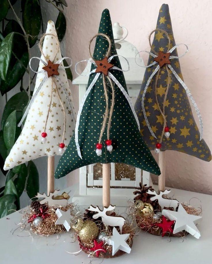 3 Tannenbaume Weihnachten Tilda Landhaus Deko Fabric Christmas