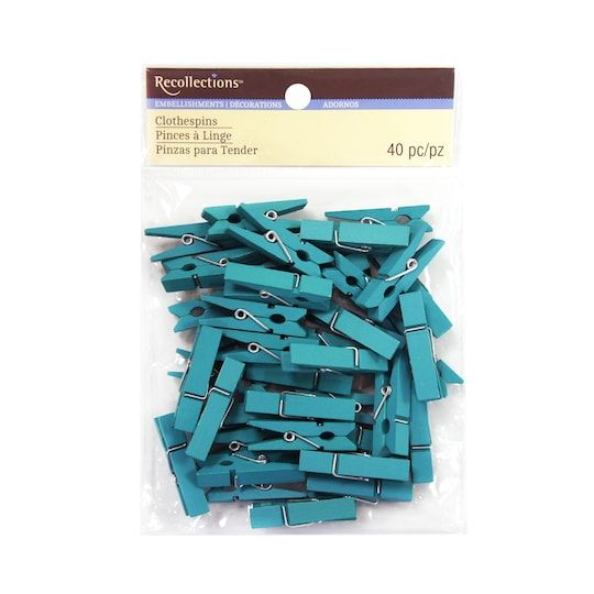 Small Clothespin Embellishments By Recollections™ in Turquoise | Michaels®