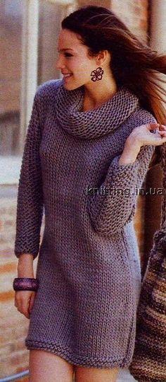 Платье вязанное спицами. | вязание пальто, платья, костюмов, юбок | Постила