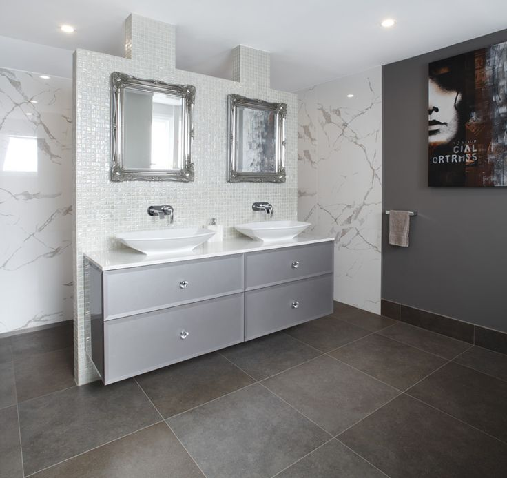 A stunning floating vanity and nib wall separate the walk-in shower from the main part of the bathroom. www.brindabellabathrooms.com.au