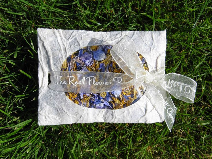 Marigold, Azure Blue and Bluebell confetti petals in a pretty hand tied Envelope (£2.50 each)