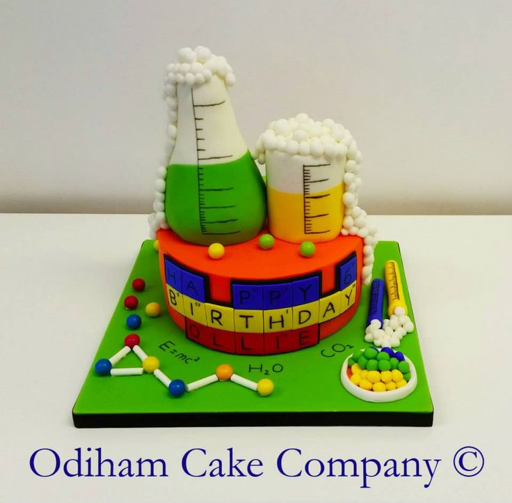 OCC - Vanilla sponge cake decorated with a science theme for a Super Science party.  #cake #science #sciencetheme