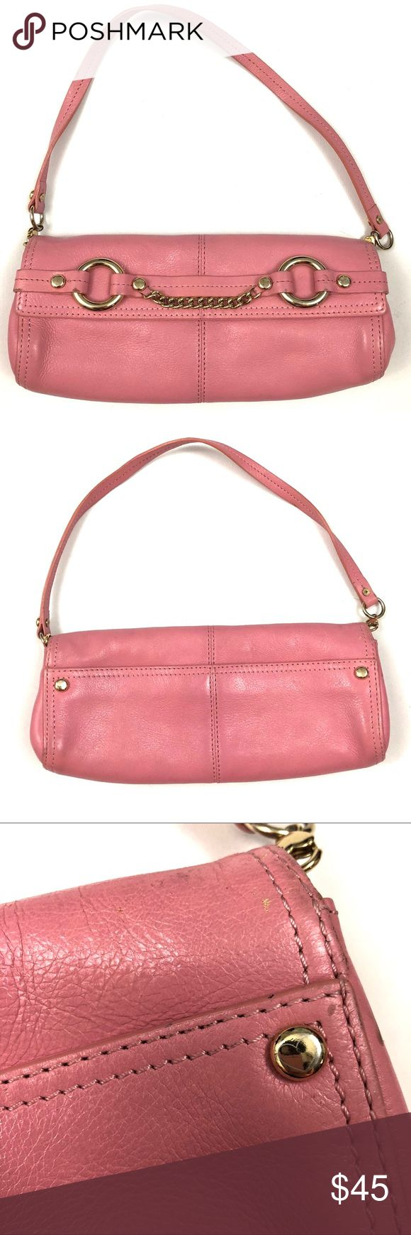 "Juicy Couture pink leather petite shoulder bag Juicy Couture pink leather shoulder bag with gold chain. Flap closure with magnets. One interior zip pocket. Measures approx 10.5""x5""x1.25"". Great details typical of a Juicy bag - cotton logo interior, 'J' zipper pull, embossed logo hardware. Used with signs of wear (see pics); all wear is really only visible up close and is still a beautiful bag with lots of life left. Juicy Couture Bags Shoulder Bags"