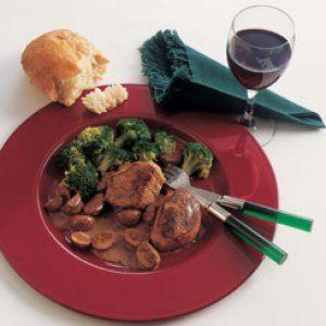 Flamberet skinkemignon med svampe og broccoli opskrift