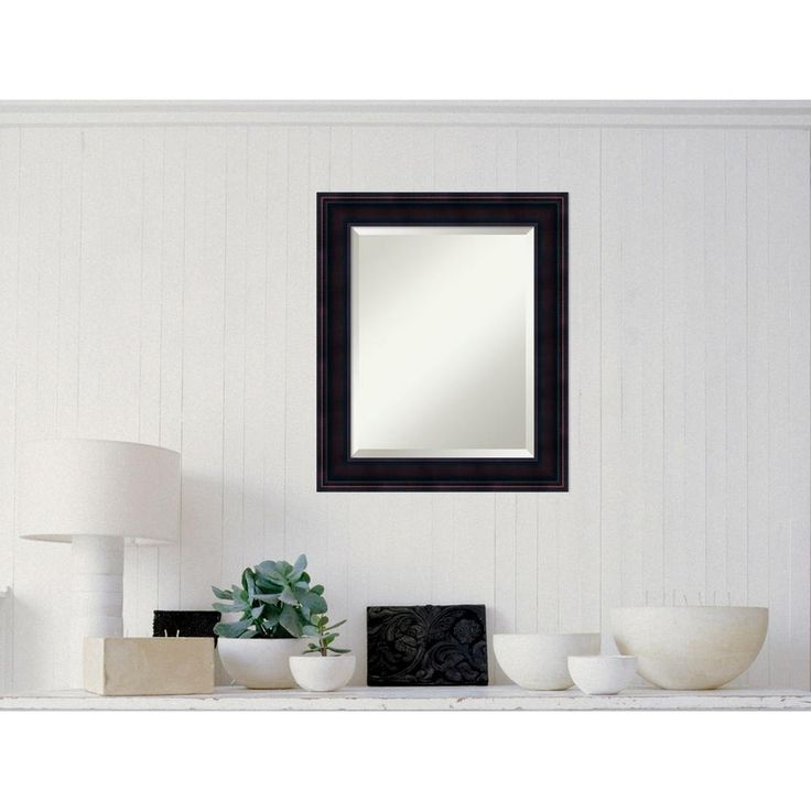 Annatto Mahogany Wood 21 in. x 25 in. Traditional Framed Mirror
