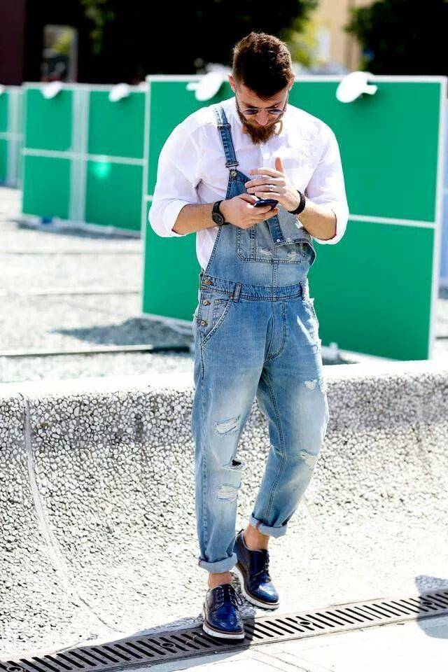 dress up lumbersexual in a crisp white shirt + distressed overalls, Firenze Pitti Uomo | Day 2 Street Style // menswear overall style + fashion