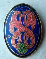 Vintage Celtic Dragon Enamel Brooch