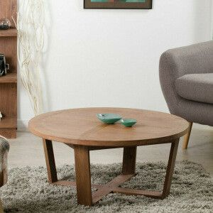 Table basse ronde 90 cm - mindi et contreplaqué  vendu seul - 90 x 90 x 40 cm - 189 €