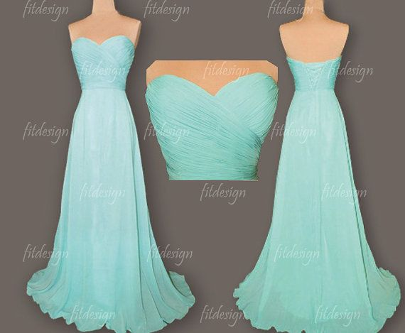 tiffany blue dress long bridesmaid dress tiffany blue by fitdesign, $119.00  idk if i'd want them short or long tho