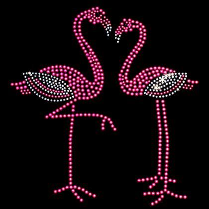 7x7 - 2 Neon Pink Flamingos - flamingos, Flowers Butterflies and Birds, Neon, Pink, Rhinestone, Tropical & Beach, Material Transfer