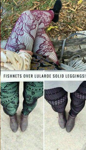 Fishnets over solid #lularoe leggings! I am obsessed! Give me all the colors!!!!!!