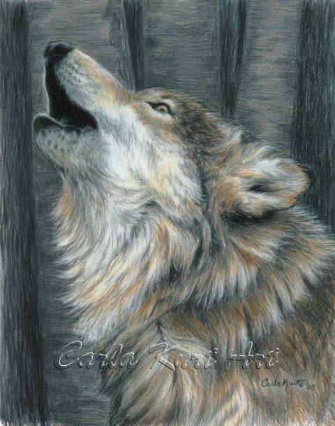 HUILENDE WOLF door Carla Kurt ondertekende Print