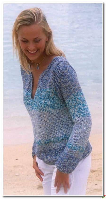 Пуловер в синих тонах.. Обсуждение на LiveInternet - Российский Сервис Онлайн-Дневников