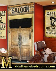 saloon doors wall decal mural stickers wild west mural decals cowboy bedroom wall mural