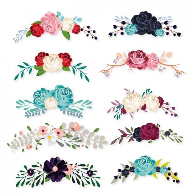 Colección de ornamentos florales Vector Gratis