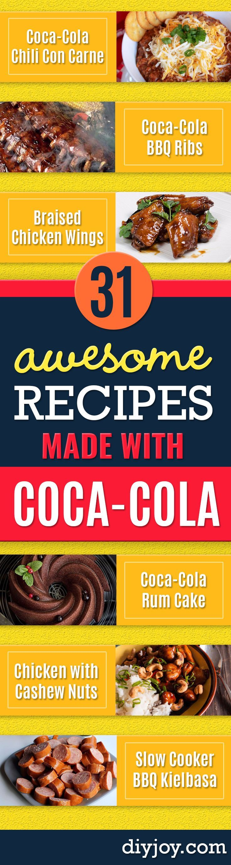 Best Coca Cola Recipes - Make Awesome Coke Chicken, Coca Cola Cake, Meatballs, Sodas, Drinks, Sweets, Dinners, Meat, Slow Cooker and Recipe Ideas With Cake Mixes - Fun Food Projects For Families and Parties With Step By Step Tutorials http://diyjoy.com/coca-cola-recipes