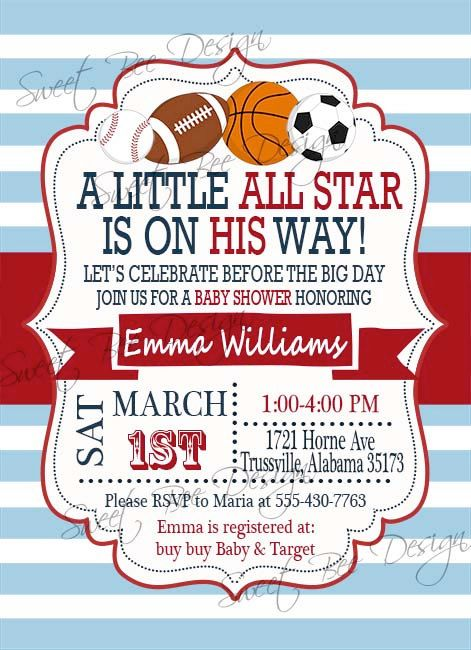 Baby Shower Invitation  All Star Baby by SweetBeeDesignShoppe, $12.00