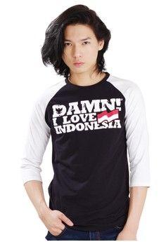 Pria > Pakaian > Atasan > Kaos > Raglan Male 7/8 BlackHD White/White > Damn I Love Indonesia