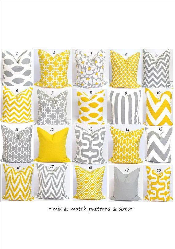 Gray.Yellow Pillows.ALL SIZES.Decorator Pillow by ElemenOPillows, $14.00