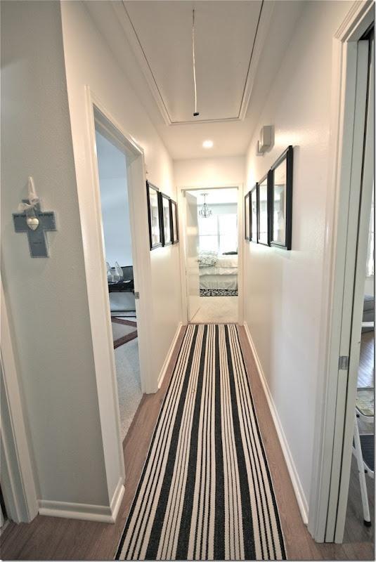 Long Rug Down Wood Floor Hallway Hallway Laundry