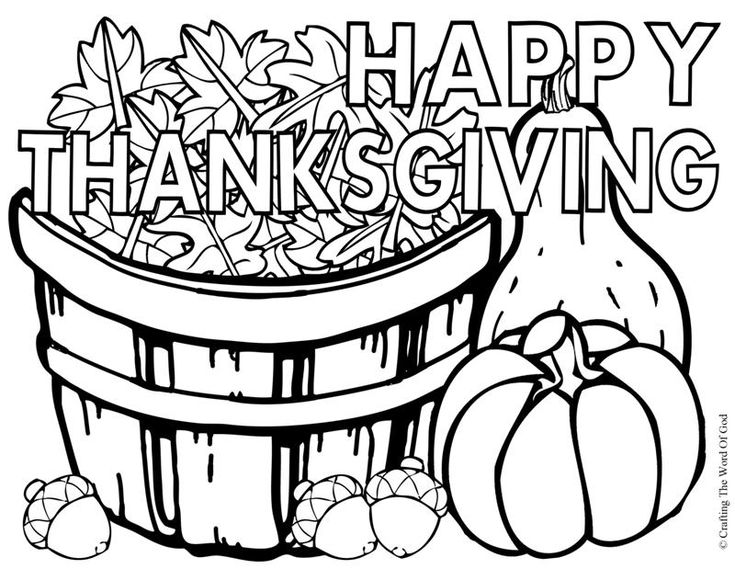 Happy thanksgiving 3 coloring page