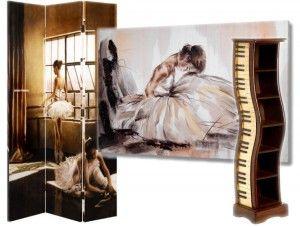 Paravan cu tablou, suport cd/dvd balerina