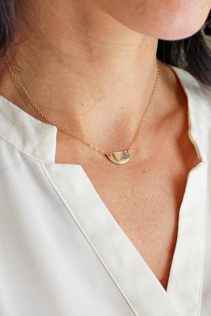 Optimism Half Circle Necklace - Christine Elizabeth Jewelry #affordable-minimal-jewelry #boho-jewelry #boho-necklace