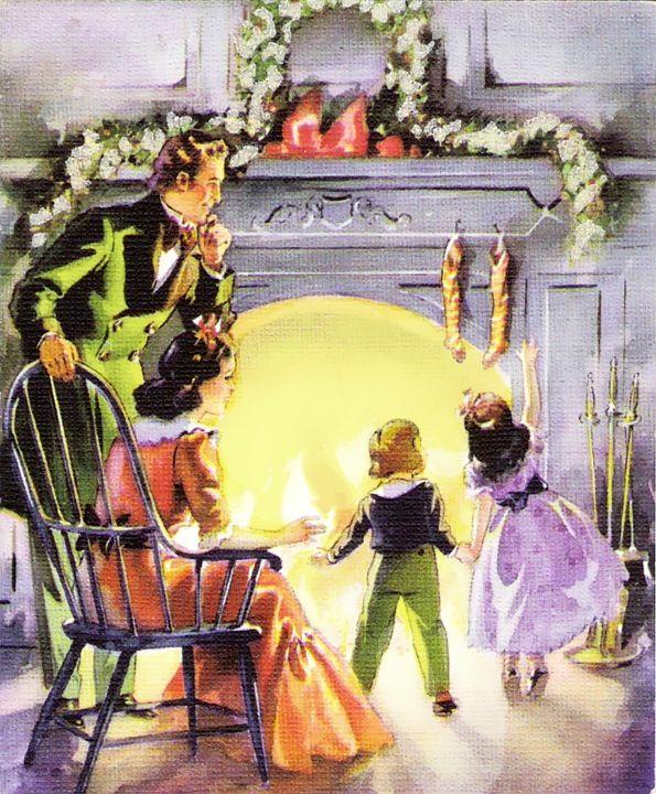 Family at Christmas fireside.