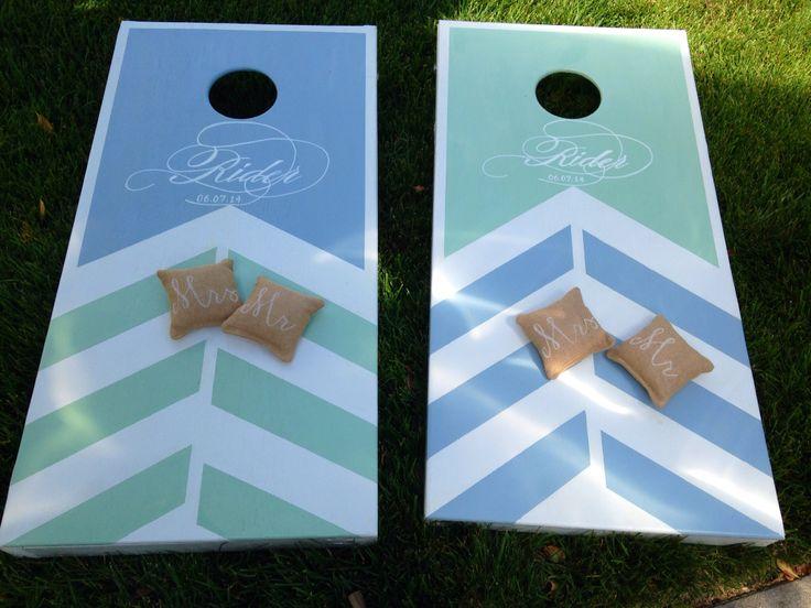 Wedding chevron or herringbone cornhole boards with custom monogram