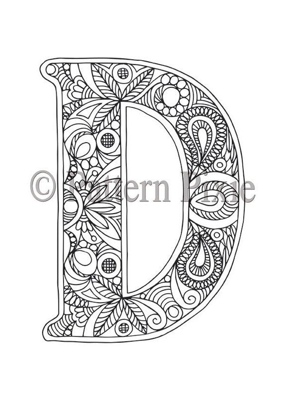 Adult Colouring Page Alphabet Letter D Omalovanky Tetovani