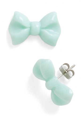 You Bow What I Mint Earrings - Green, Solid, Bows, Kawaii, Party, Casual, Top Rated, Spring