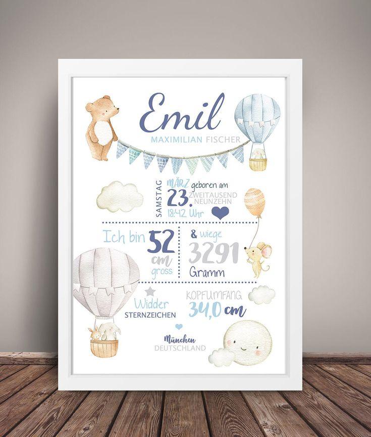 Geburtsdaten Kunstdruck 'Heißluftballon' blau-grau, personalisiert, Geburtsdatendruck, Geburtsbild, Geschenk Geburt Junge