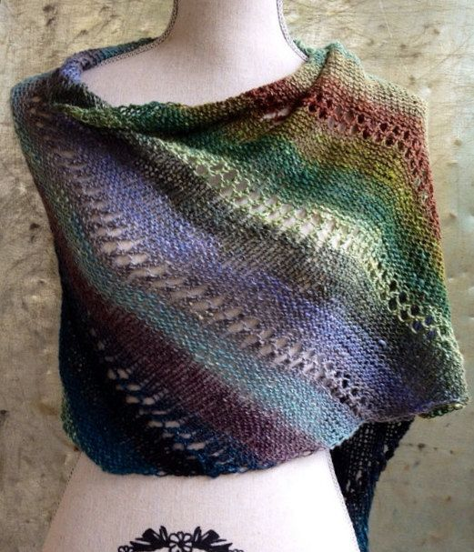 Knitting Pattern Triangle Head Scarf : Through the Forest Diagonal Wrap Double Eyelet Hand Knit Scarf Shawl Prayer S...