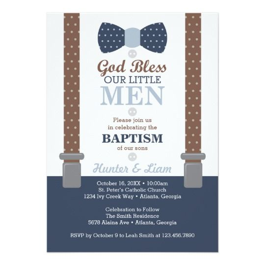 Twin Little Men Baptism Invitation, Blue, Brown Card michael - sample baptismal invitation for twins