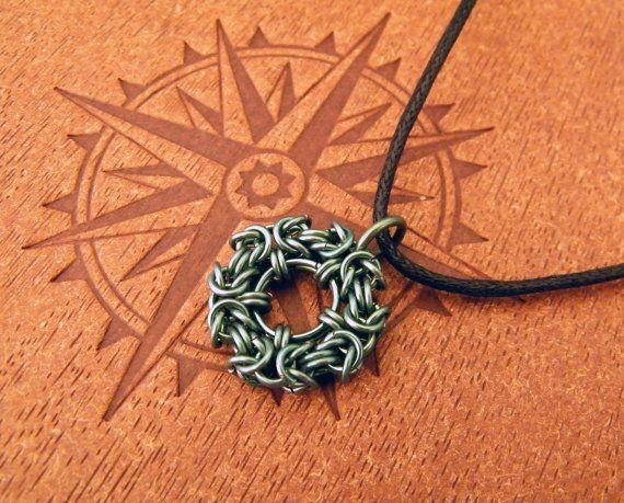 Green Niobium Chainmaille Wreath Pendant.