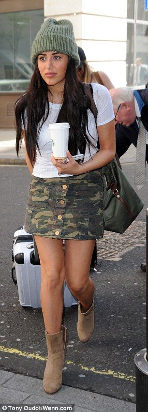 Holly Hagan shows off her incredible abs in tiny crop top while Marnie Simpson flaunts endless legs in a camouflage mini... after admitting she is on the hunt for a girlfriend  | Daily Mail Online