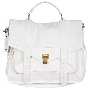 White big leather satchel bag: