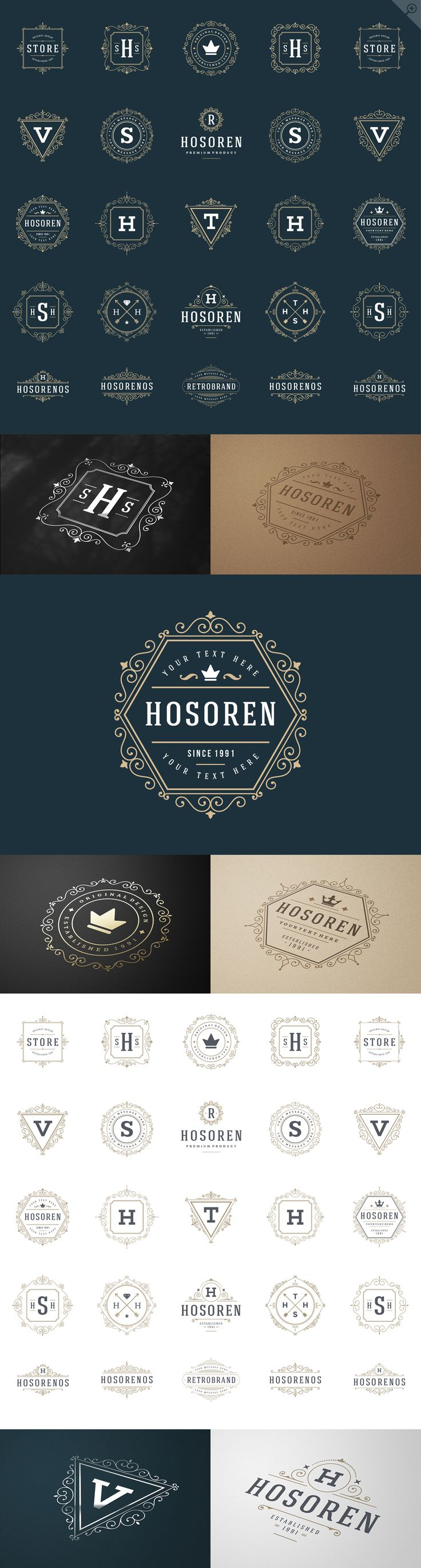 100 ornaments logos & monogram by Vasya Kobelev on Creative Market