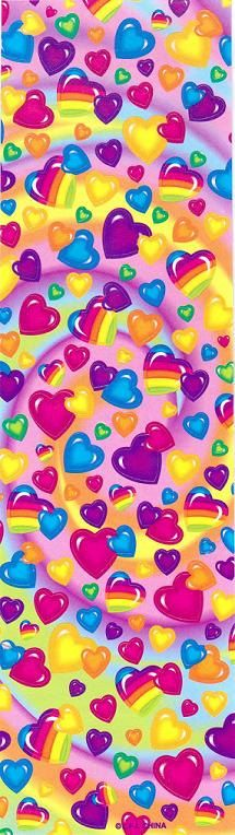 Vintage Lisa Frank Hearts Long Sticker by CollectorsWarehouse, $7.99