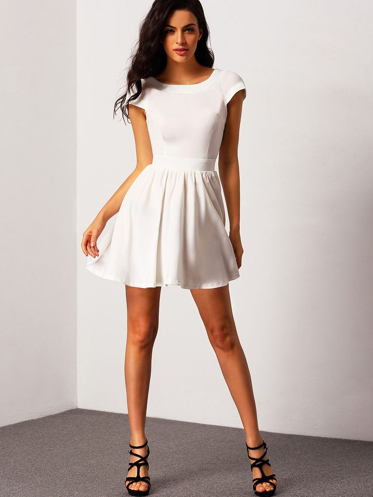 White Short Sleeve Open Back Flare Dress | Grad Dress | Pinterest ...