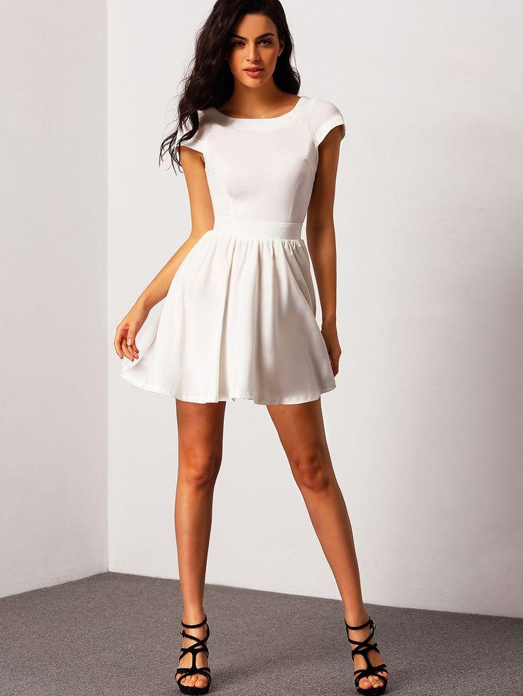White Short Sleeve Open Back Flare Dress | Grad Dress | Pinterest ...