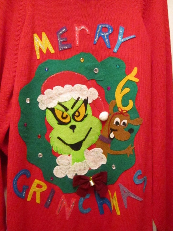 Ugly Christmas Sweater Grinch Christmas Sweater by MotherFrakers, $65.00