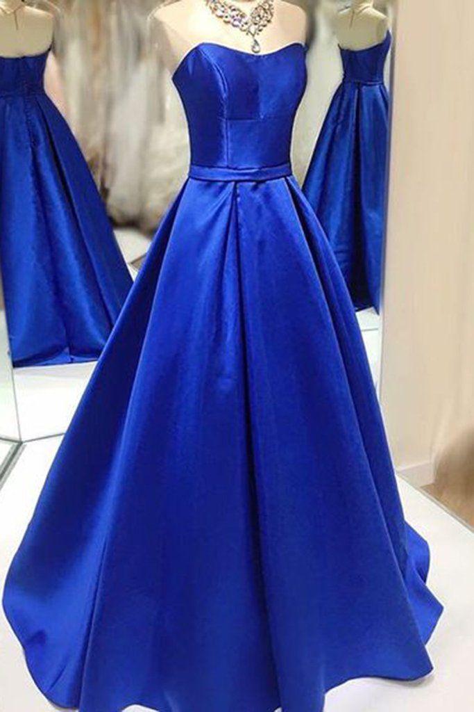Navy blue satins sweetheart A-line princess full-length formal dresses