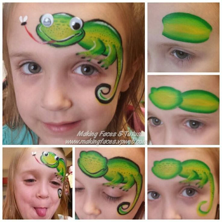 Step by step face paint lizard