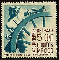 "art deco postage stamp  Mexico 1940, ""Helmsman"" by Francisco Eppens"
