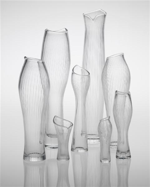 Phillips de Pury & Company: Nordic Design, TAPIO WIRKKALA, Selection of eight vases, including 'Varsanjalka', model no. 3215 and 'Tuonelan virta', model no. 3522
