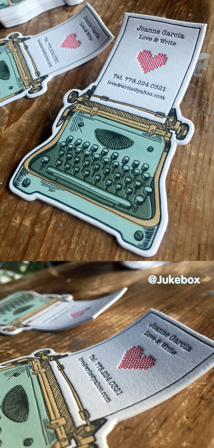 Cute Typewriter custom shaped business card printed with Letterpress. Produced by #Jukeboxprint